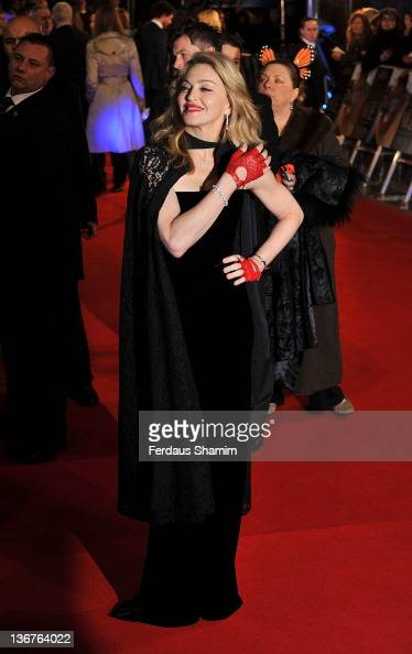 Madona attends the UK premiere of WE at ODEON Kensington on January 11 2012 in London England