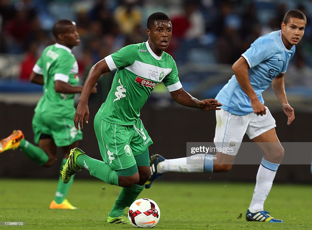 Madondo Kulegani of AmaZulu during the Nelson Mandela Football Invitational match between AmaZulu and Manchester City at Moses Mabhida Stadium on July 18, 2013 in Durban, South Africa.