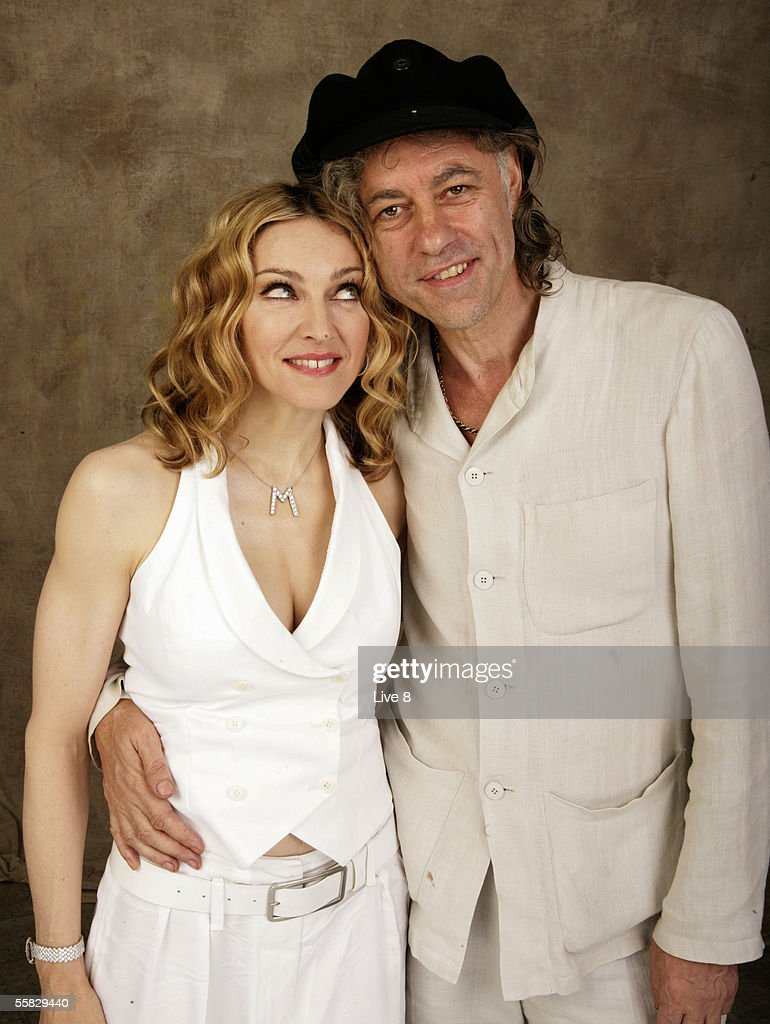 Madonna and Bob Geldof pose for a studio portrait backstage at 'Live 8 London' in Hyde Park on July 2, 2005 in London, England. The free concert is one of ten simultaneous international gigs including Philadelphia, Berlin, Rome, Paris, Barrie, Tokyo, Cornwall, Moscow and Johannesburg. The concerts precede the G8 summit (July 6-8) to raising awareness for MAKEpovertyHISTORY.