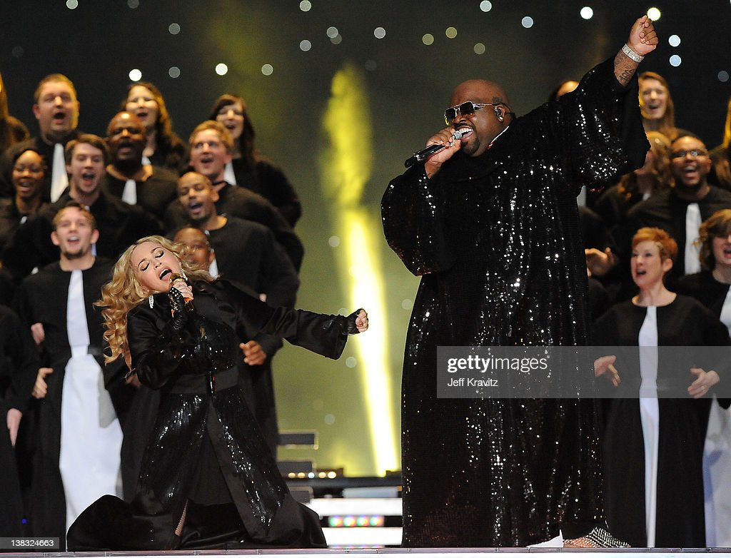<a gi-track='captionPersonalityLinkClicked' href=/galleries/search?phrase=Madonna+-+Singer&family=editorial&specificpeople=156408 ng-click='$event.stopPropagation()'>Madonna</a> and Cee Lo Green perform during the Bridgestone Super Bowl XLVI Halftime Show at Lucas Oil Stadium on February 5, 2012 in Indianapolis, Indiana.