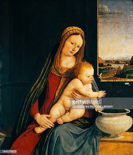 Madonna and Child or Madonna of the Carnations 14901495 painting by Andrea Solario tempera on panel 76x63 cm Milan Pinacoteca Di Brera