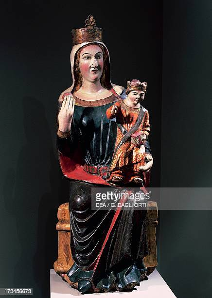 Madonna and Child painted wood statue height 120 cm Vallfogona de Riucorb Spain 14th century Vic Museu Episcopal