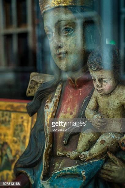 Madonna and Child Through window