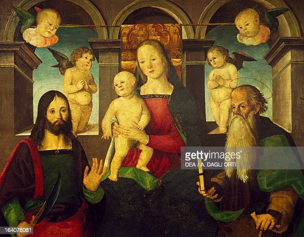 Madonna and Child with Saints by Giuliano Presutti painting on wood Fermo Pinacoteca Civica Palazzo Dei Priori