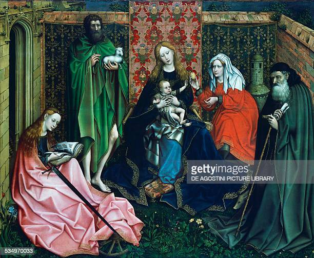 Madonna and Child with Saints in the Enclosed Garden 14401460 by a follower of Robert Campin oil on panel 119x148 cm Netherlands 15th century...