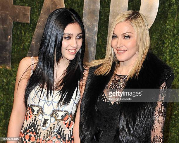 Madonna and daughter Lourdes Leon arrive at the Vanity Fair Oscar party hosted by Graydon Carter held at Sunset Tower on February 27 2011 in West...