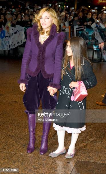 Madonna and daughter Lourdes Leon during 'Harry Potter and the Goblet of Fire' London Premiere Outside Arrivals at Odeon Leicester Square in London...