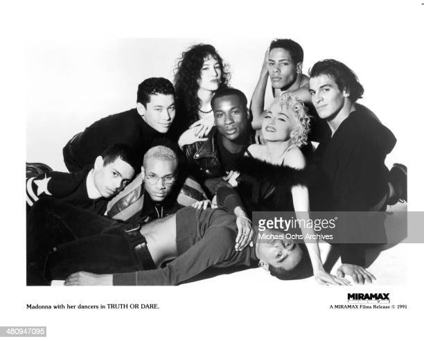 Madonna and her dancers pose for the Miramax movie ' Truth or Dare' circa 1991