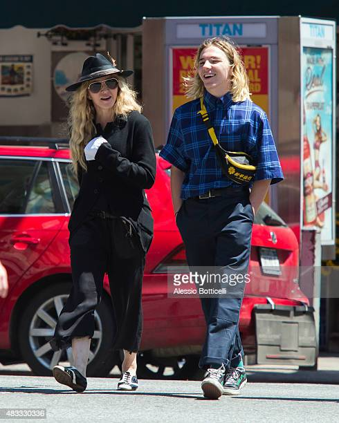 Madonna and her son Rocco Ritchie are seen taking casual stroll on Upper East Side on August 7 2015 in New York City