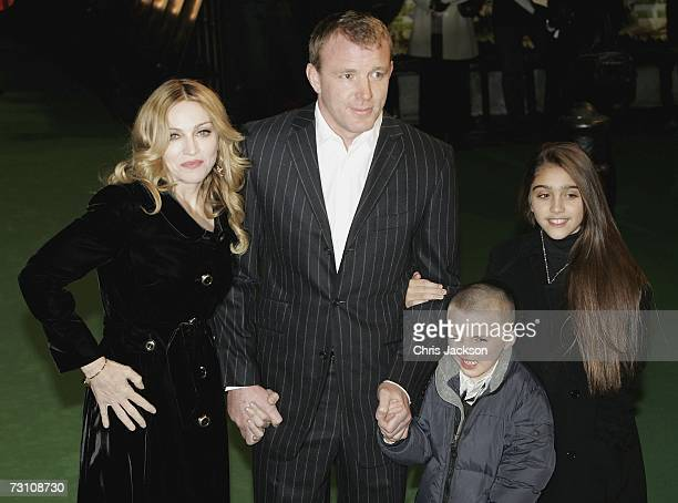 Madonna and husband Guy Ritchie and children Rocco and Lourdes arrive at the Arthur And The Invisibles premier at Vue Leicester Square on January 25...