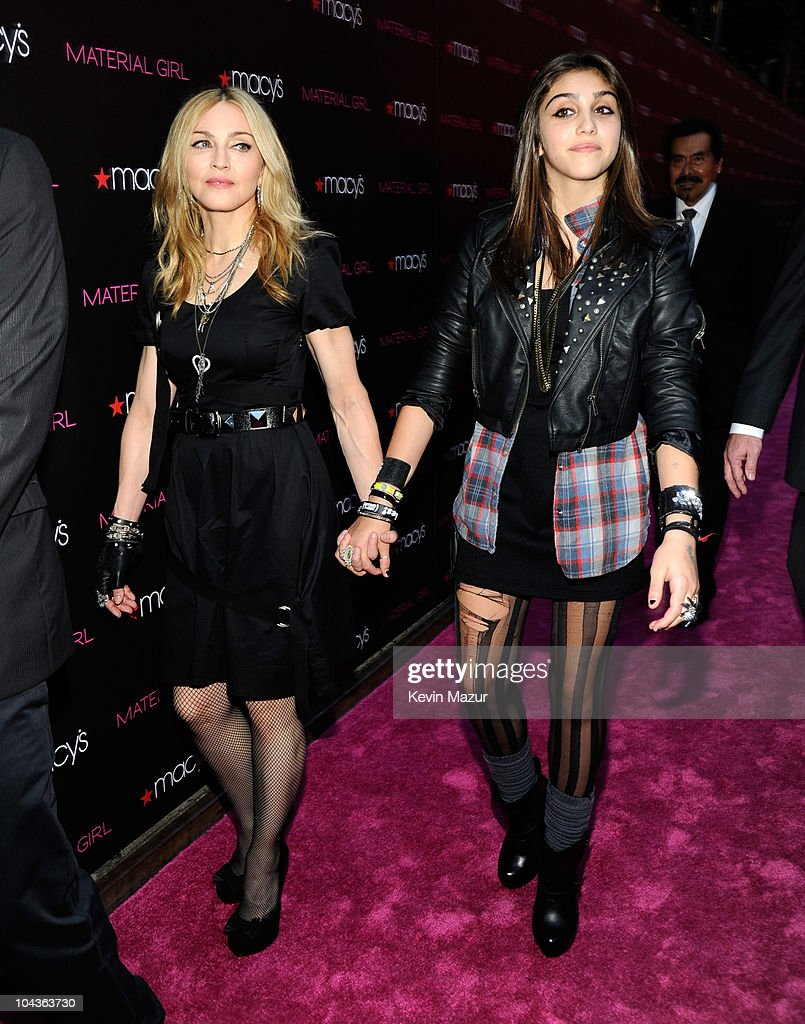 <a gi-track='captionPersonalityLinkClicked' href=/galleries/search?phrase=Madonna+-+Singer&family=editorial&specificpeople=156408 ng-click='$event.stopPropagation()'>Madonna</a> and <a gi-track='captionPersonalityLinkClicked' href=/galleries/search?phrase=Lola+Leon&family=editorial&specificpeople=215021 ng-click='$event.stopPropagation()'>Lola Leon</a> attend the launch of 'Material Girl' at Macy's Herald Square on September 22, 2010 in New York City.