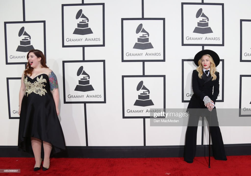 <a gi-track='captionPersonalityLinkClicked' href=/galleries/search?phrase=Madonna+-+Singer&family=editorial&specificpeople=156408 ng-click='$event.stopPropagation()'>Madonna</a> (R) and Mary Lambert arrive at the 56th Annual GRAMMY Awards at Staples Center on January 26, 2014 in Los Angeles, California.