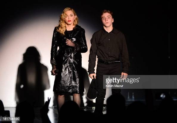 Madonna and Rocco Ritchie perform during Madonna and Steven Klein secretprojectrevolution at the Gagosian Gallery on September 24 2013 in New York...
