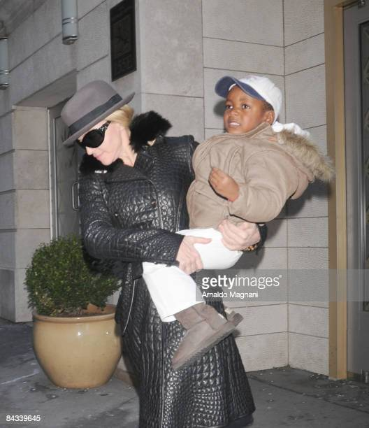 Madonna and Son David are seen on the streets of Manhatten on January 17 2008 in New York City
