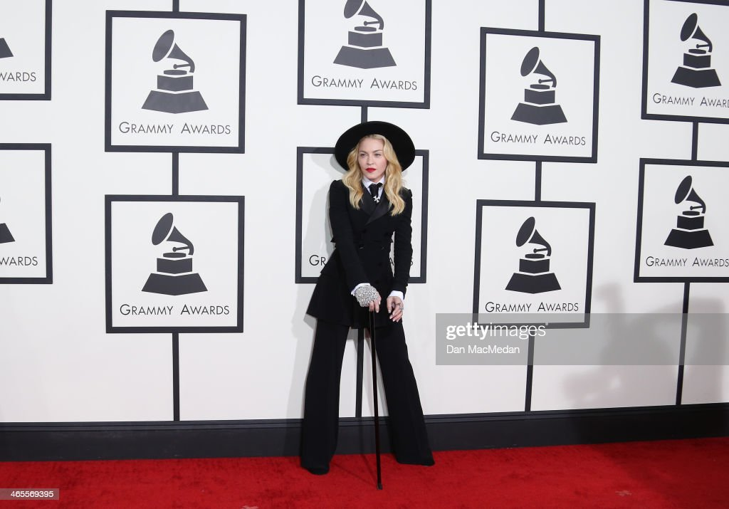 <a gi-track='captionPersonalityLinkClicked' href=/galleries/search?phrase=Madonna+-+Singer&family=editorial&specificpeople=156408 ng-click='$event.stopPropagation()'>Madonna</a> arrives at the 56th Annual GRAMMY Awards at Staples Center on January 26, 2014 in Los Angeles, California.