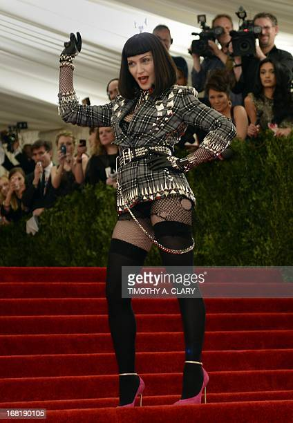 "Madonna arrives at the Metropolitan Museum of Art's Costume Institute Gala benefit in honor of the museum's latest exhibit ""Punk Chaos to Couture""..."