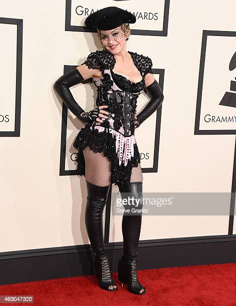 Madonna arrives at the The 57th Annual GRAMMY Awards on February 8 2015 in Los Angeles California