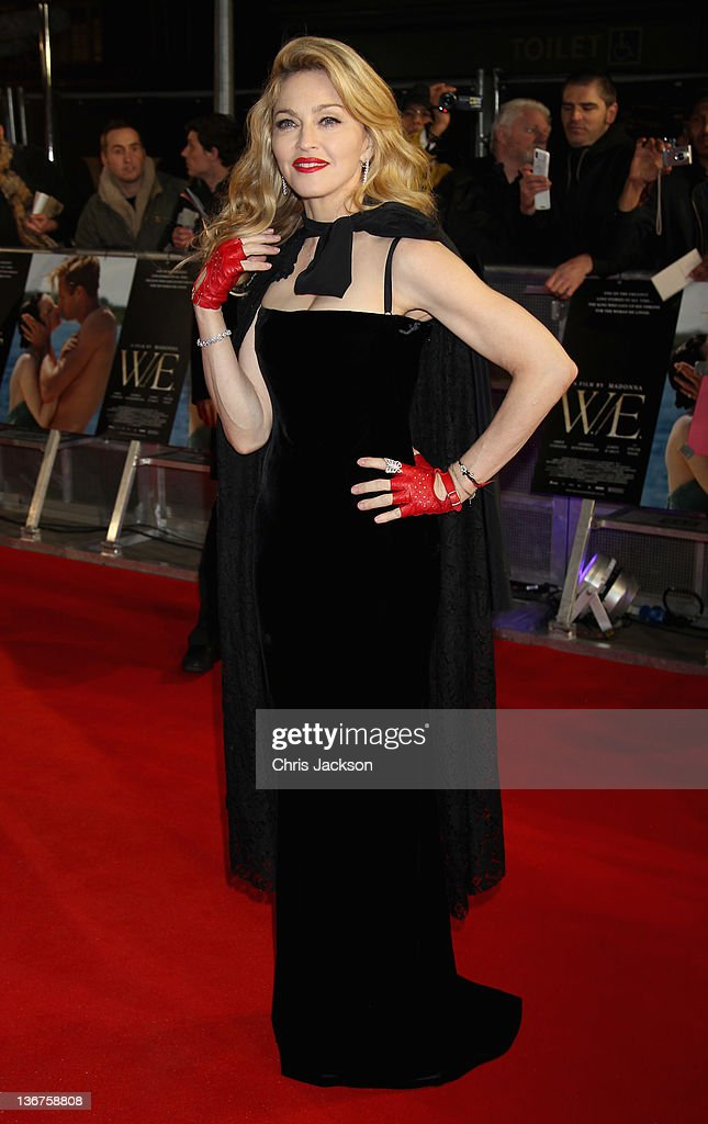 Madonna arrives at the UK premiere of WE at ODEON Kensington on January 11 2012 in London England The film is released on January 20