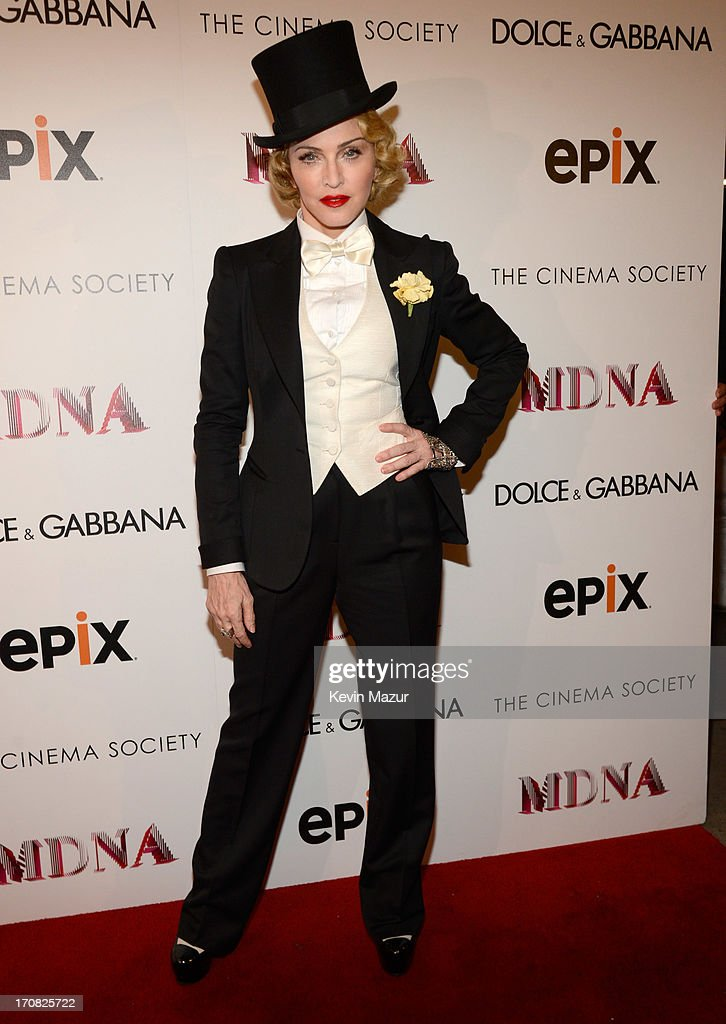 <a gi-track='captionPersonalityLinkClicked' href=/galleries/search?phrase=Madonna+-+Singer&family=editorial&specificpeople=156408 ng-click='$event.stopPropagation()'>Madonna</a> attends the Dolce & Gabbana and The Cinema Society screening of the Epix World premiere of '<a gi-track='captionPersonalityLinkClicked' href=/galleries/search?phrase=Madonna+-+Singer&family=editorial&specificpeople=156408 ng-click='$event.stopPropagation()'>Madonna</a>: The MDNA Tour' at The Paris Theatre on June 18, 2013 in New York City.