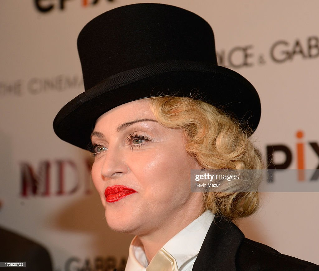 Madonna attends the Dolce & Gabbana and The Cinema Society screening of the Epix World premiere of 'Madonna: The MDNA Tour' at The Paris Theatre on June 18, 2013 in New York City.