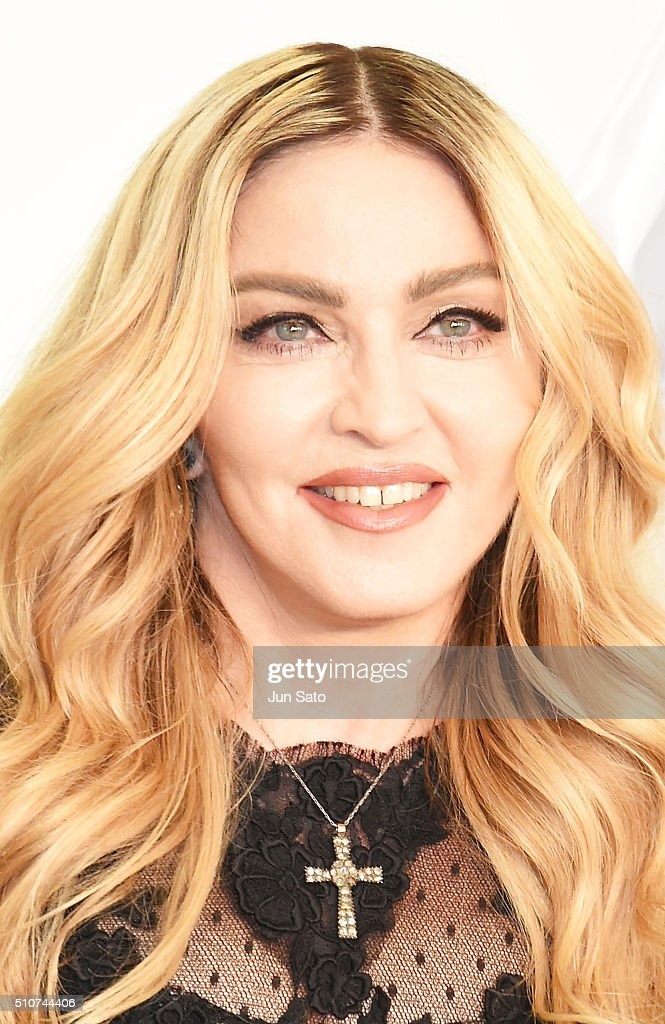 Madonna attends the promotional event for 'MDNA SKIN' at Mitsukoshi Department store on February 15, 2016 in Tokyo, Japan.
