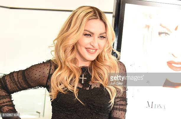 Madonna attends the promotional event for 'MDNA SKIN' on February 15 2016 in Tokyo Japan