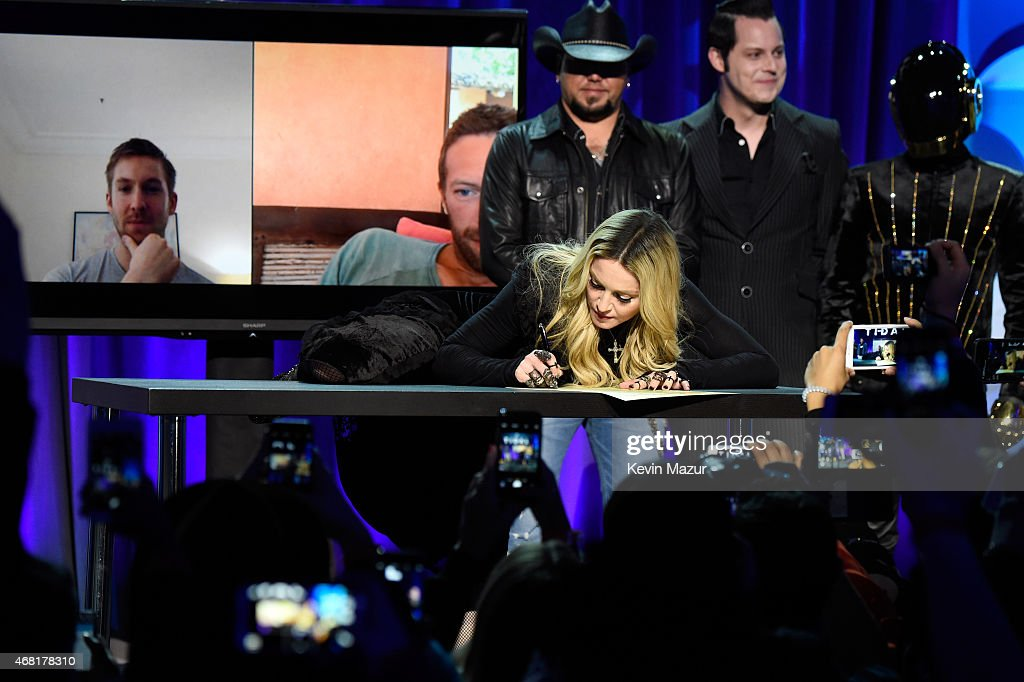 Madonna attends the Tidal launch event #TIDALforALL at Skylight at Moynihan Station on March 30, 2015 in New York City.