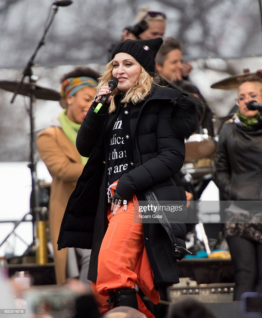 Madonna attends the Women's March on Washington on January 21, 2017 in Washington, DC.