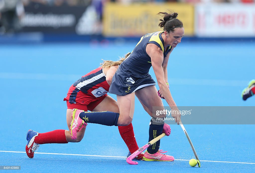 Madonna Blyth of Australia and Katie Bam of USA during the FIH Women's Hockey Champions Trophy 2016 3rd-4th place match between Australia and USA at Queen Elizabeth Olympic Park on June 26, 2016 in London, England.