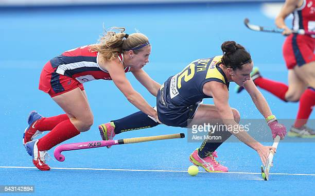 Madonna Blyth of Australia and Katie Bam of USA during the FIH Women's Hockey Champions Trophy 2016 3rd4th place match between Australia and USA at...