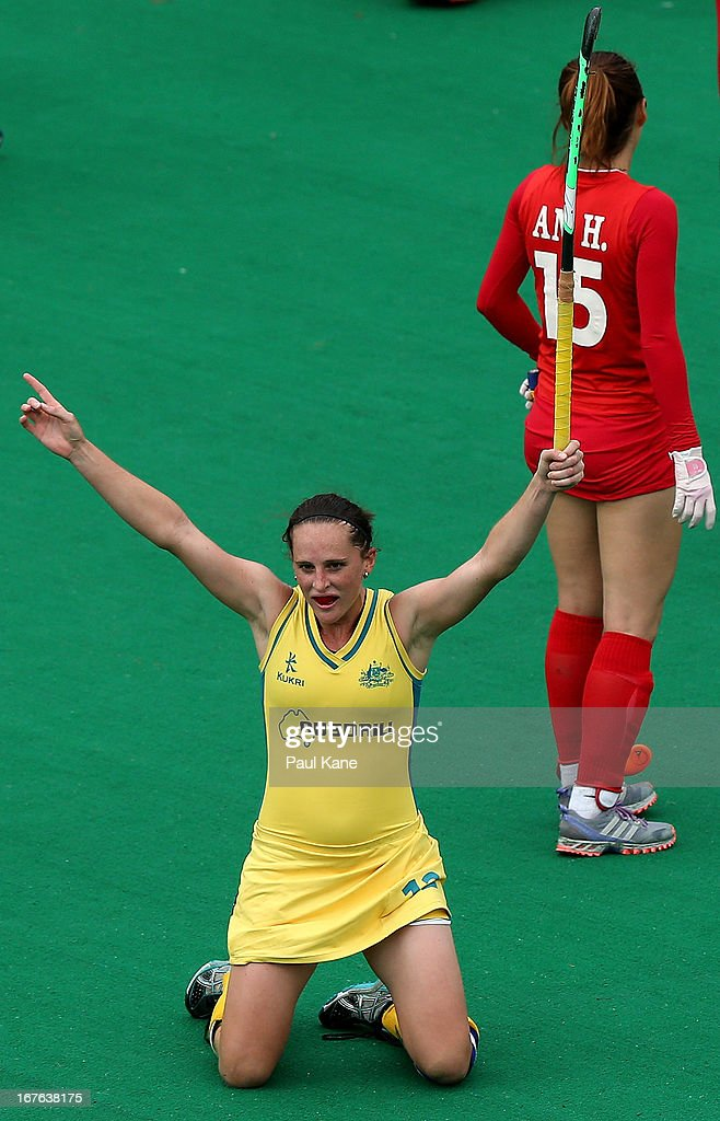 Madonna Blyth of Australia celebrates a goal during the International Test match between the Australian Hockeyroos and Korea at Perth Hockey Stadium on April 27, 2013 in Perth, Australia.