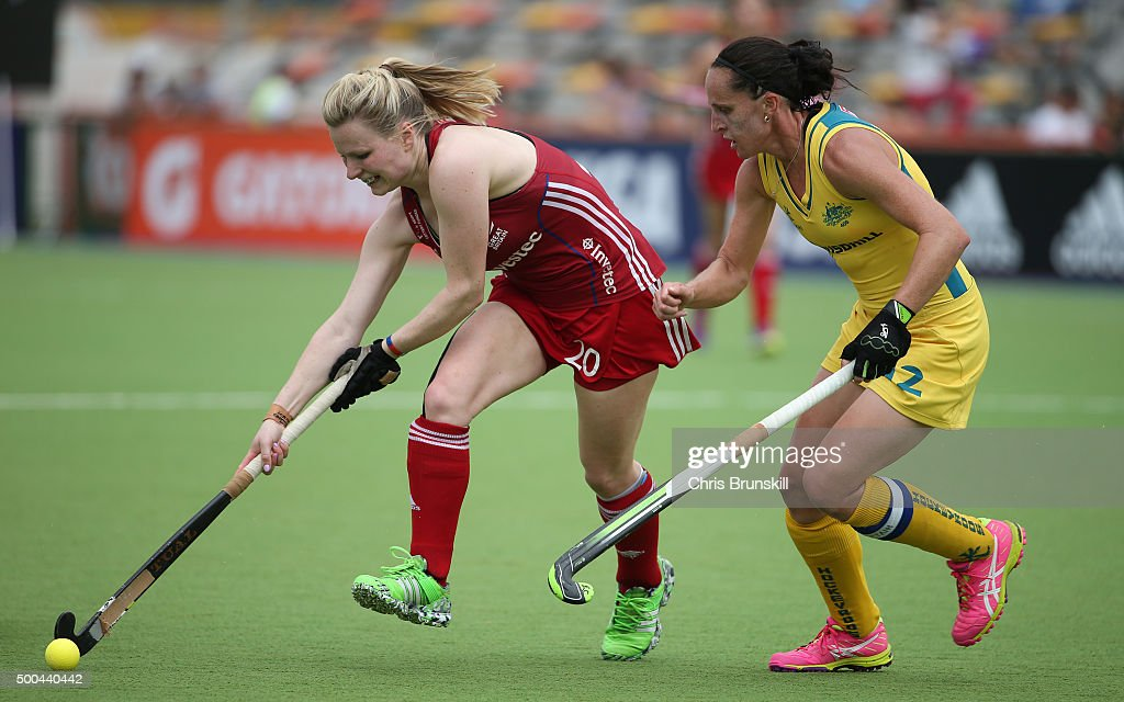 Madonna Blyth of Australia competes with Hollie Webb of Great Britain during the Pool B match between Australia and Great Britain on day four of the...