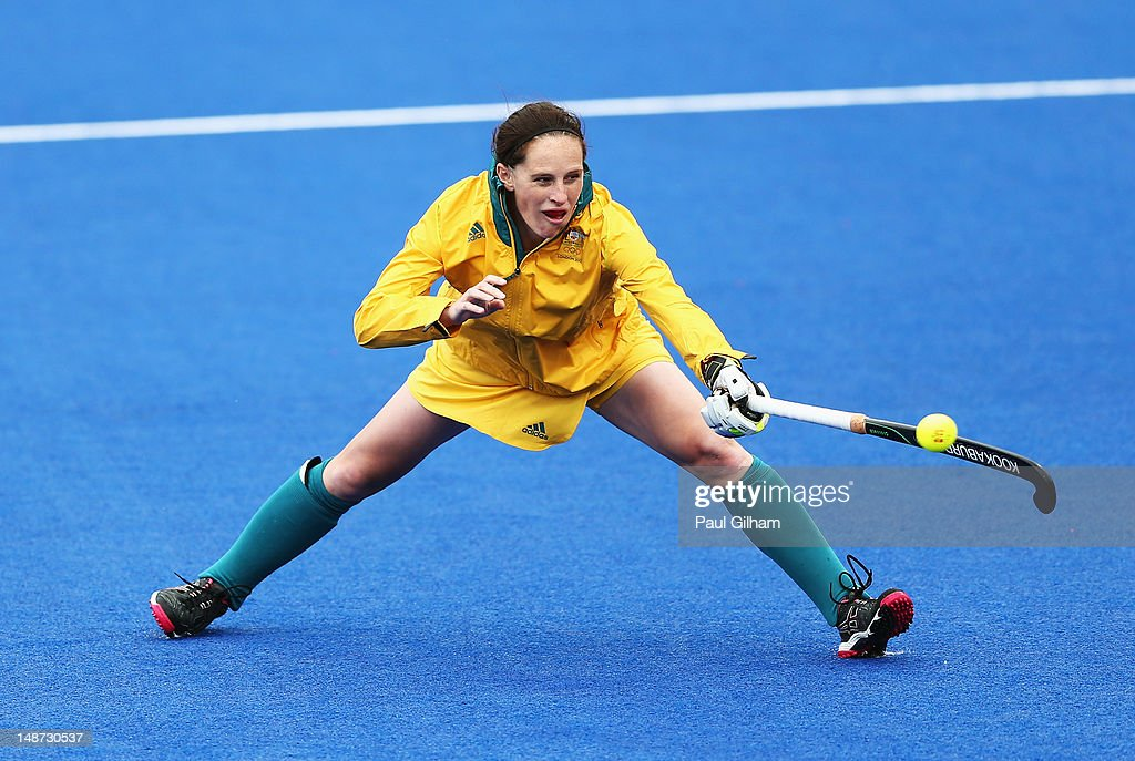 Madonna Blyth of Australia in action during an Australian Ladies Hockey Team training session during previews ahead of the London 2012 Olympic Games...