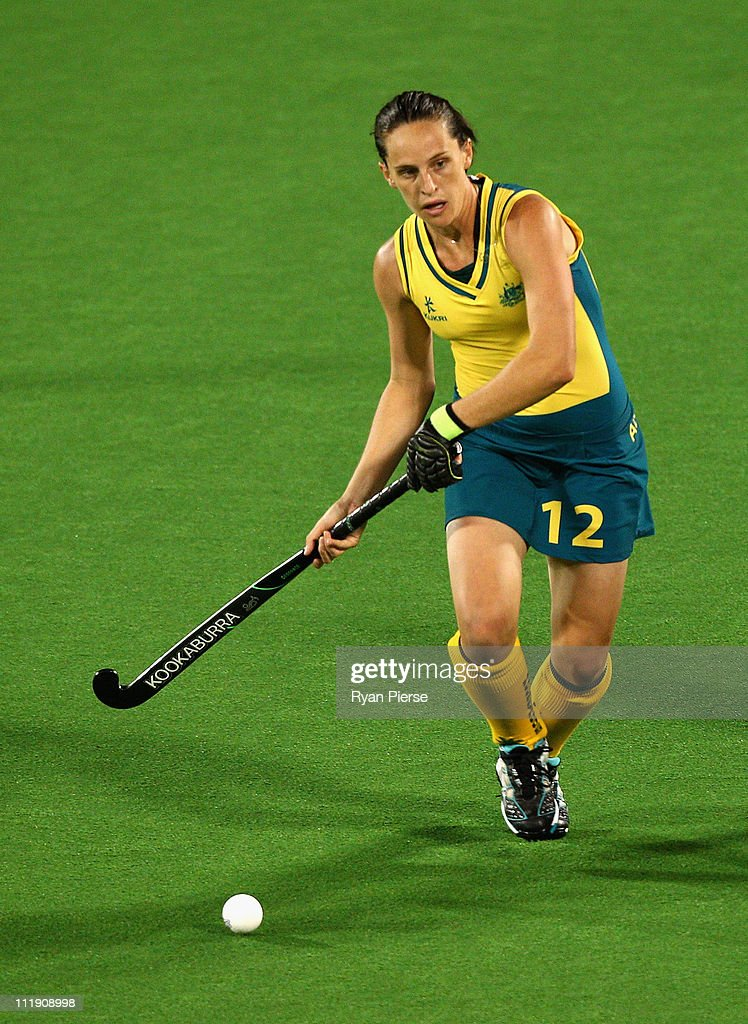 Madonna Blyth of Australia looks upfield during game three of the International Test Series between the Australian Hockeyroos and Argentina at Sydney...