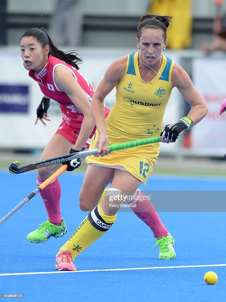 Madonna Blyth of Australia makes a break during the Festival of Hockey pool match between Australia and Japan on April 02 2016 in Hastings New Zealand
