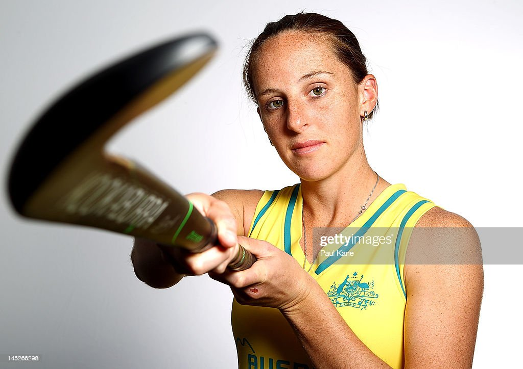 Madonna Blyth poses during an Australian women's Hockeyroos hockey portrait session at on May 25 2012 in Perth Australia
