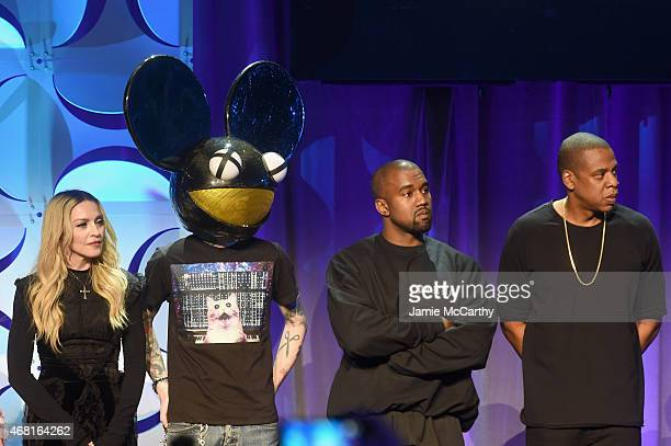 Madonna Deadmau5 Kanye West and JAY Z onstage at the Tidal launch event #TIDALforALL at Skylight at Moynihan Station on March 30 2015 in New York City