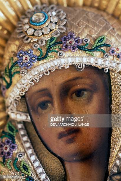 Madonna decorated with coloured beads Monastery of the Archangel Michael Symi Greece