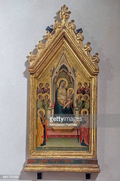 Madonna Enthroned by Bernardo Daddi 14th Century tempera and gold on board 56 x 26 cm Italy Tuscany Florence Uffizi Gallery Whole artwork view The...