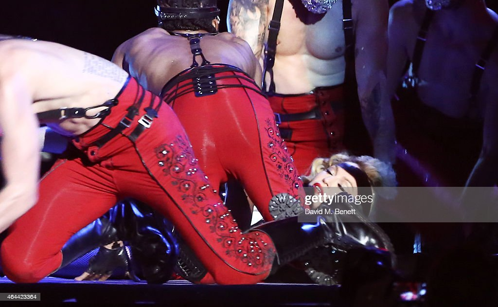 Madonna falls as she performs at the BRIT Awards 2015 at The O2 Arena on February 25, 2015 in London, England.