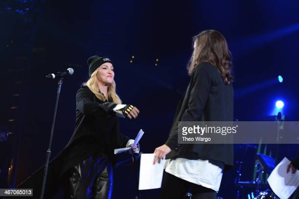 Madonna introduces Pussy Riot onstage at the Amnesty International Concert presented by the CBGB Festival at Barclays Center on February 5 2014 in...