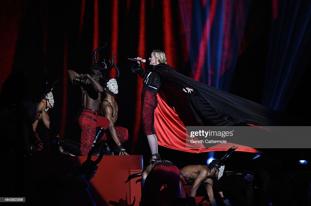 Madonna just before she falls on stage during the BRIT Awards 2015 at The O2 Arena on February 25 2015 in London England