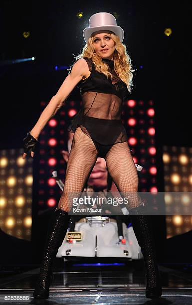 Madonna kicks off her highly anticipated Sticky Sweet Tour promoting Number One album Hard Candy at the Millennium Stadium on August 23 2008 in...
