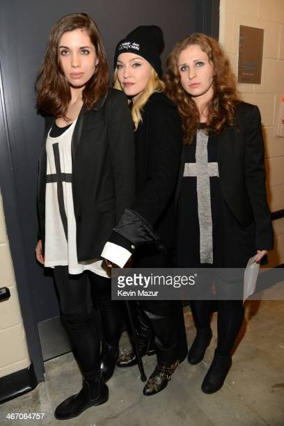 Madonna Nadya Tolokonnikova and Masha Alyokhina of Pussy Riot attend the Amnesty International Concert presented by the CBGB Festival at Barclays...
