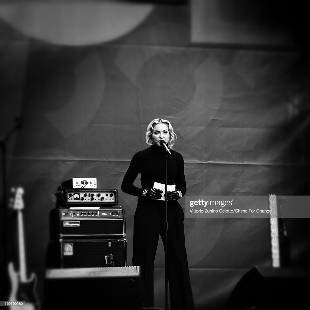 <a gi-track='captionPersonalityLinkClicked' href=/galleries/search?phrase=Madonna+-+Singer&family=editorial&specificpeople=156408 ng-click='$event.stopPropagation()'>Madonna</a> on stage at the 'Chime For Change: The Sound Of Change Live' Concert at Twickenham Stadium on June 1, 2013 in London, England. Chime For Change is a global campaign for girls' and women's empowerment founded by Gucci with a founding committee comprised of Gucci Creative Director Frida Giannini, Salma Hayek Pinault and Beyonce Knowles-Carter.
