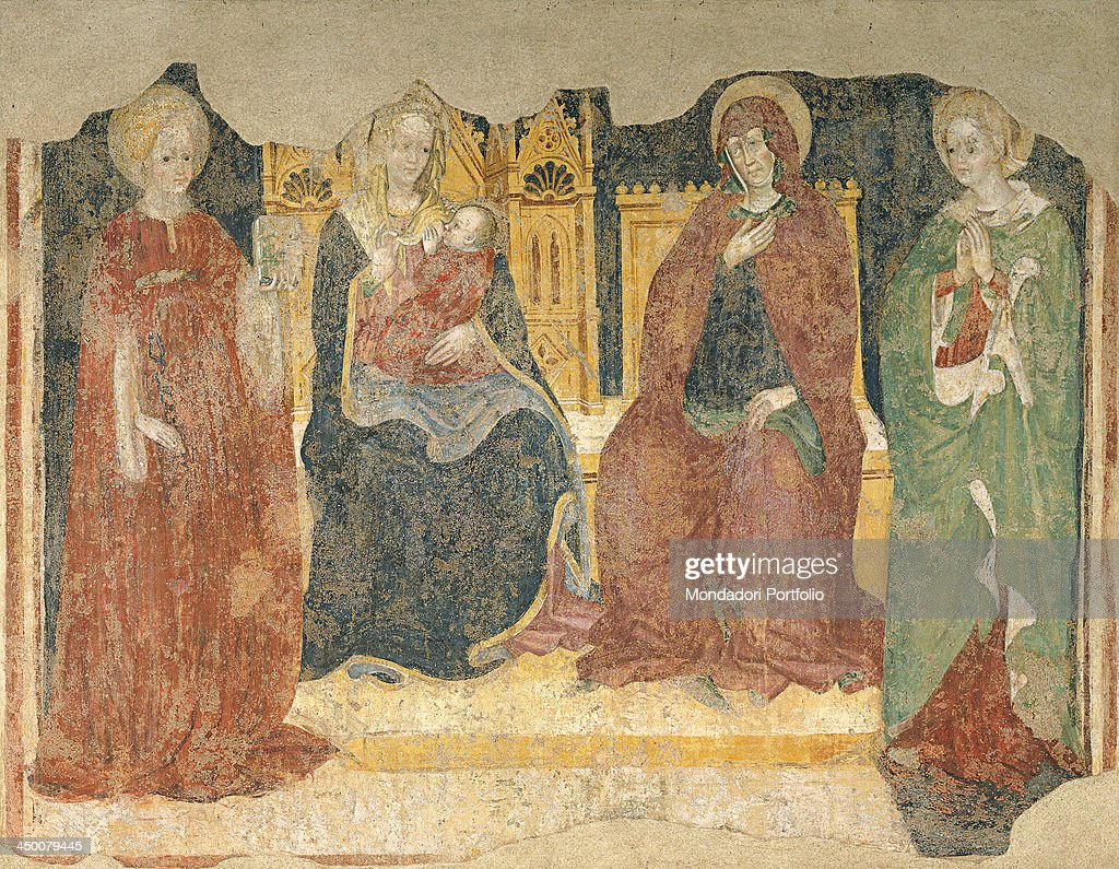 Madonna on the throne with Child and Saint Catherine of Alexandria, Saint Anne and Saint Apollonia (Madonna in trono col Bambino e le Sante Anna, Caterina d'Alessandria e Apollonia), attributed to Giovanni Bembo, 15th Century, fresco.