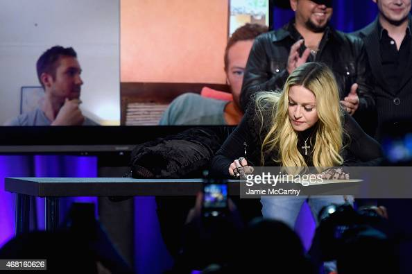 Madonna onstage at the Tidal launch event #TIDALforALL at Skylight at Moynihan Station on March 30 2015 in New York City