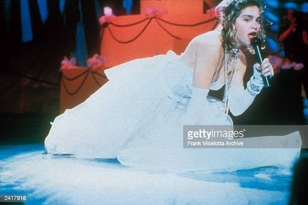 Madonna performing on the 1984 MTV Video Music Awards at Radio City Music Hall in New York City September 14 1984 Photo by Frank Micelotta/Getty...