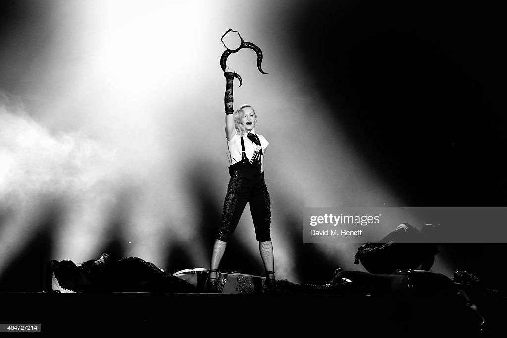 Madonna performs at the BRIT Awards 2015 at The O2 Arena on February 25, 2015 in London, England.