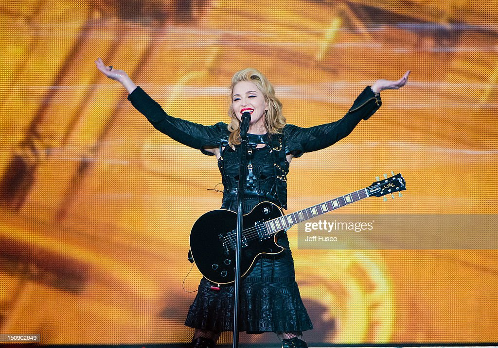Madonna performs at the MDNA North America Tour Opener at the Wells Fargo Center August 28 2012 in Philadelphia Pennsylvania